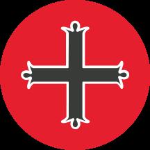 Mount Michael Logo Black Cross on in Red Circle