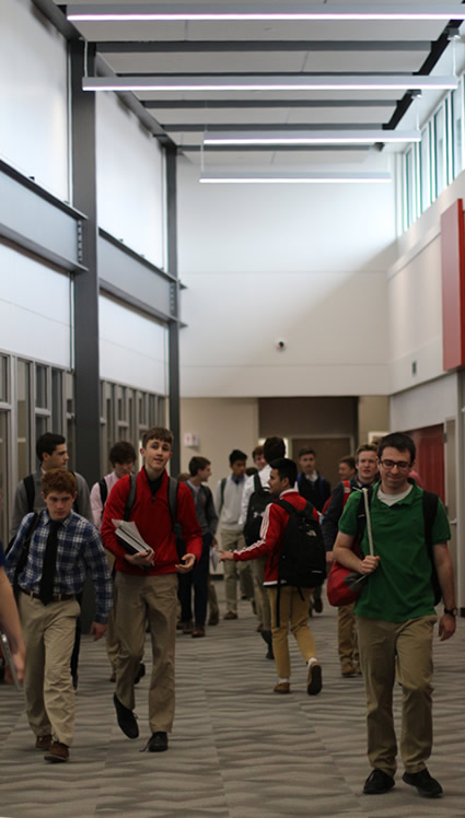 Students walking down the hall