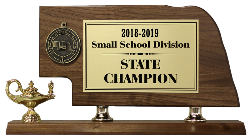 Image of the Nebraska small school state Academic Decathlon trophy