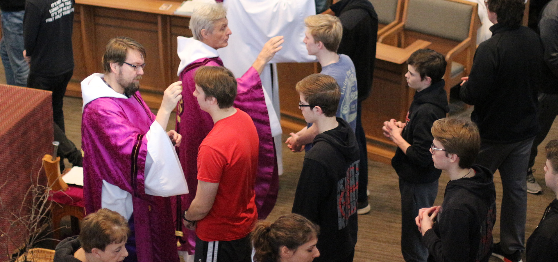 Students receiving Ashes on Ash Wednesday