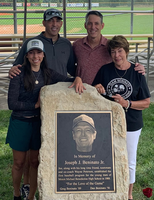 Photo of the Beninato family at the setting of the Memorial stone & plaque remembering Joe Beninato Jr.